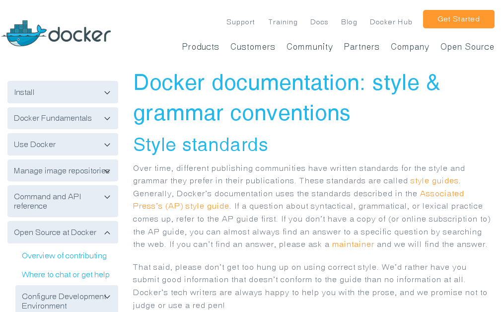 'Style and grammar conventions' on docs.docker.com