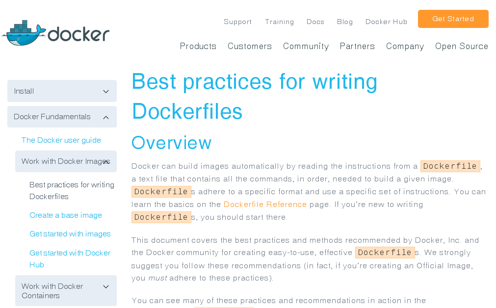 'Best practices for writing Dockerfiles' on docs.docker.com